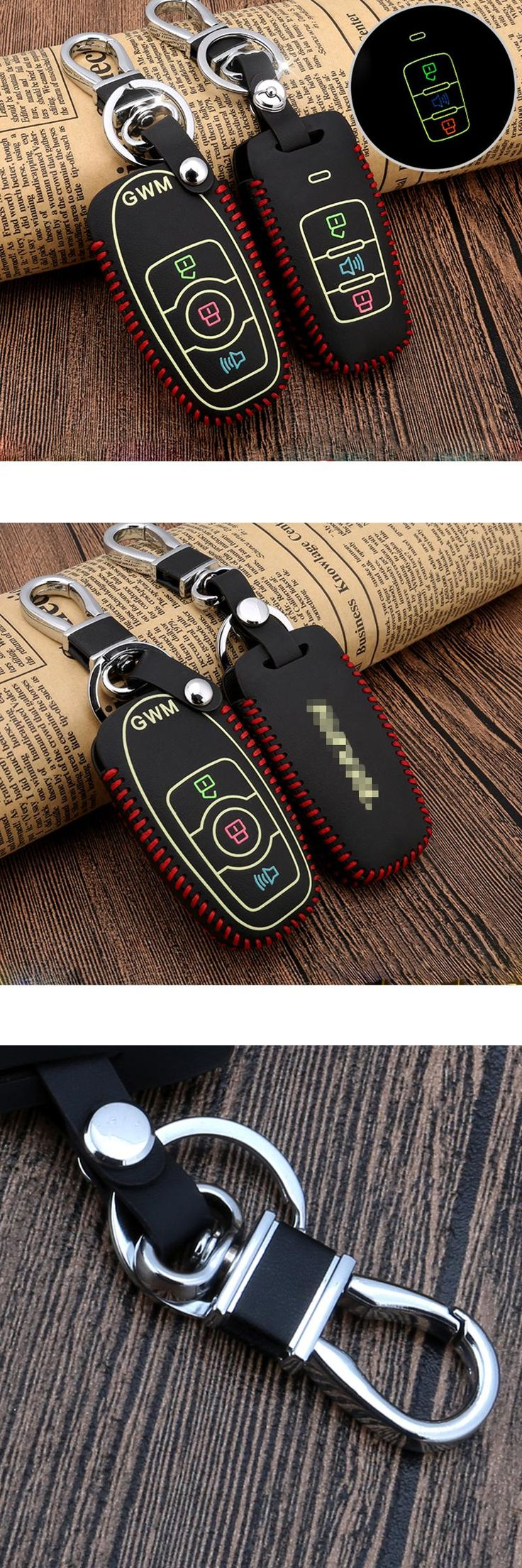 [Visit to Buy] Real Leather Car Key Covers Luminous Key Case Holder Car Accessories for Haval H6 H5 H3 H2 H9 M4 Tabanca Silah Korna Car-styling #Advertisement