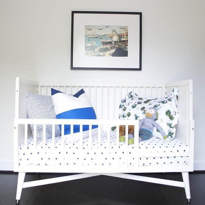 From crib to toddler bed, the transitional Mid-Century French White Dresser is oh-so versatile. #crib #versatile #dwellstudio #midcentury
