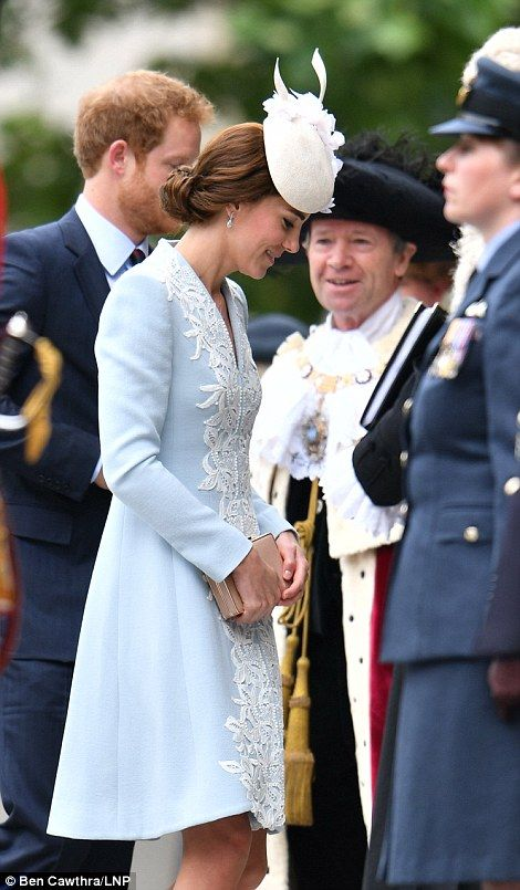 A special occasion: The Duchess of Cambridge stunned in a dusty blue and white lace
