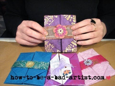 This envelope is based on a simple origami technique; no glue required! You can personalize it as much as you wish with stamps, ribbons, or dimensional stickers and then insert a thankyou card or love letter. See also: http://how-to-be-a-bad-artist.com/craft-techniques/handmade-envelope/ My video shows a project from my latest tea party book: A...