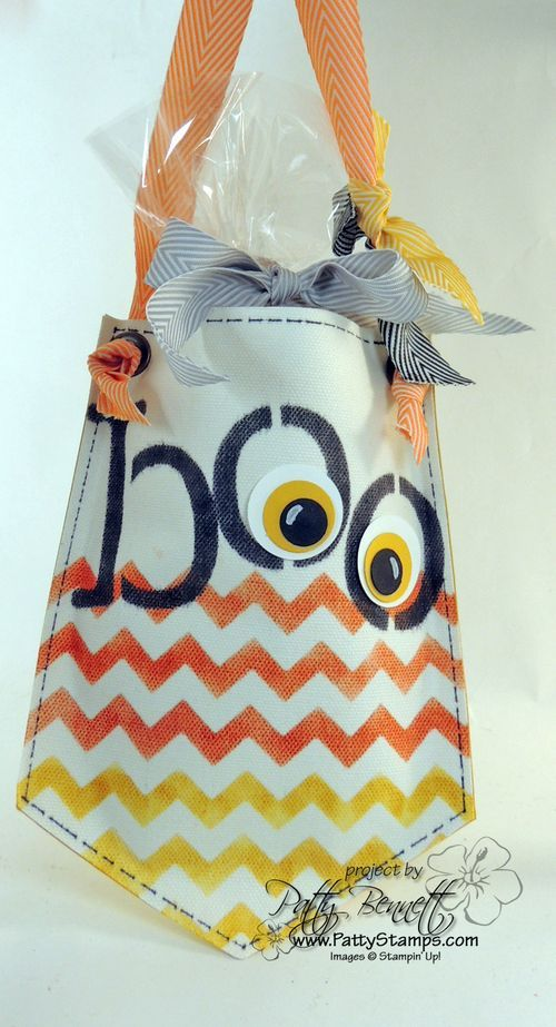 www.PattyStamps.com - Build a Banner BOO Halloween treat bag craft with Chevron Candy Corn pattern