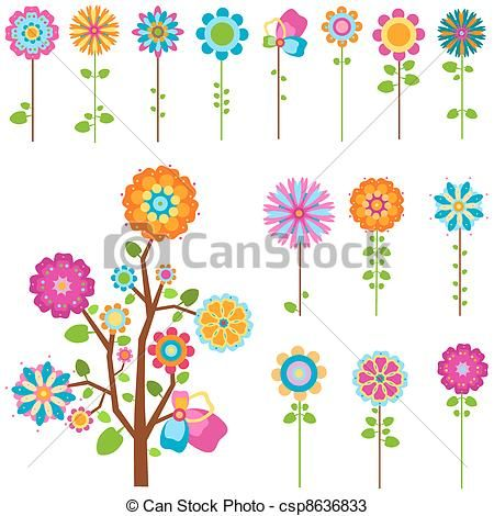 Vector - retro flowers set - stock illustration, royalty free illustrations, stock clip art icon, stock clipart icons, logo, line art, EPS picture, pictures, graphic, graphics, drawing, drawings, vector image, artwork, EPS vector art