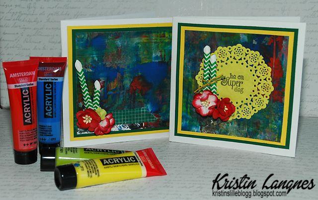 Jeg er i en fase hvor jeg liker å leke meg med både farger, teknikker og ulike produkter. Her endte jeg opp med å lage to kort med malingsb...