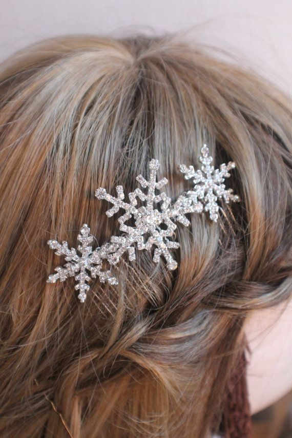 Winter snowflake hair comb Wedding hair comb   by Sparklebyelle