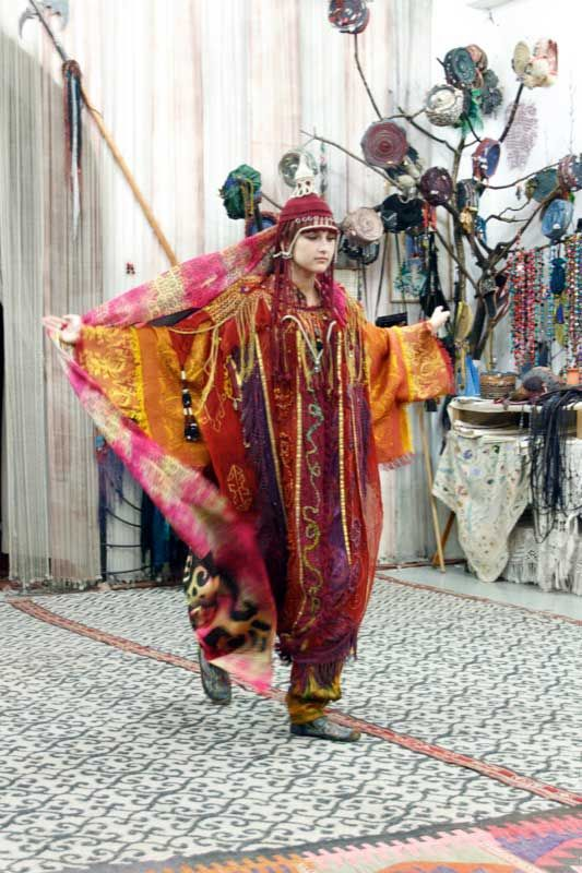 Fashion Show of Swirling Silk in Samarkand, Uzbekistan | A Moscow-trained designer, Valentina Romanenko, has transformed her traditional Uzbek home into a workshop and display area...