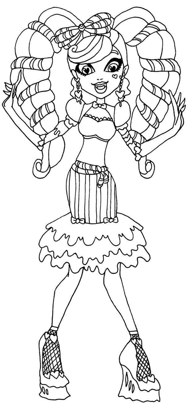 Ever after high coloring games online - A Coloring Page Of Draculaura In Her Sweet Screams Outfit From Monster High Sweet Screams Draculaura
