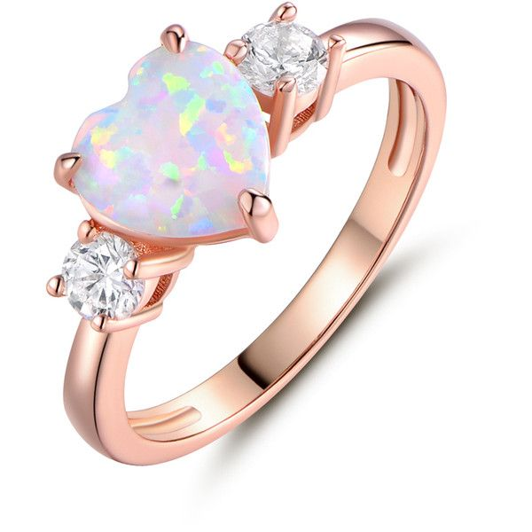 Peermont Fire Opal Heart-Cut Promise Ring in 18K Rose Gold PlatingSize... ($15) ❤ liked on Polyvore featuring jewelry, rings, jewelry & watches, 18 karat ring, heart jewelry, pink gold rings, 18k ring and 18k rose gold ring