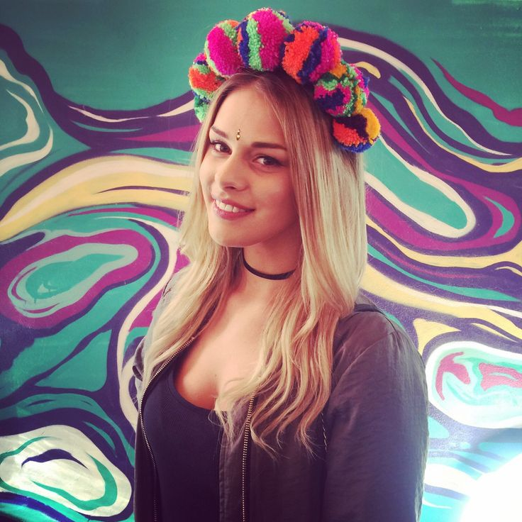 Pom Pom headdress. Multicoloured neon pom pom wool head band / dress. Party disco carnival festival. Glastonbury burning man secret garden party by PicaPicaFeathers on Etsy https://www.etsy.com/uk/listing/279442360/multicoloured-neon-pom-pom-wool-head