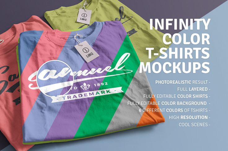 Infinity Color T-Shirt Mockups completes the saga of mockup t-shirts, in this package you will find 7 magnificent shirts scenes in which you can change the background color and also the color of the t-shirts, the possibilities are endless! Also the tags are editable. After having Infinity Color T-Shirt Mockups you will not need another T-Shirt mockup.