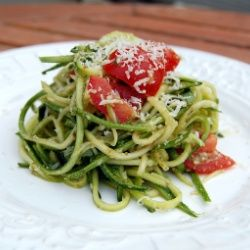 """Raw Zucchini Pesto Pasta. Gluten free, follows the """"raw"""" craze, ridiculously low in calories and added bonus of being alkaline forming!"""