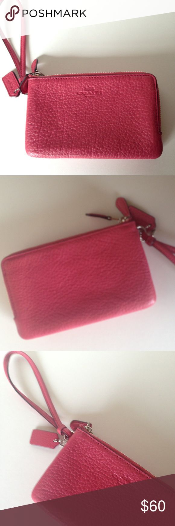 NWT Coach Pebbled Leather Zip Wristlet New with tag Coach pebbled leather double corner zip wristlet/strawberry/pink with silver hardware. Interior has two compartments for credit cards. F66605 No Trades Coach Bags Clutches & Wristlets