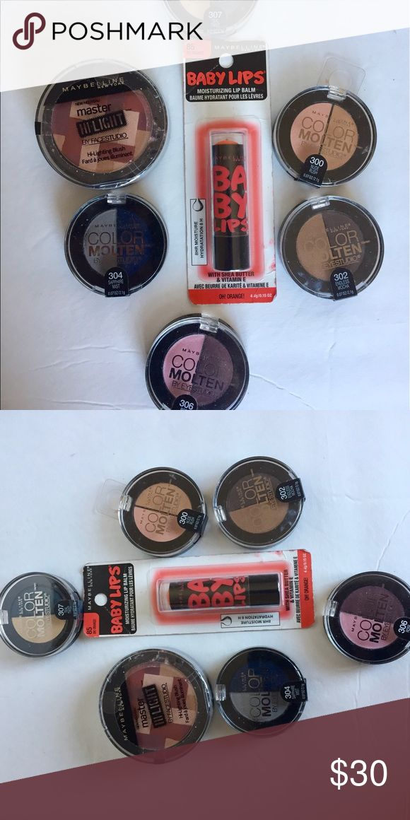 🆕 MAYBELLINE BUNDLE of 7 products - Eyeshadow + This Listing is for a MAYBELLINE Lot of 7 make-up bundle including:  4 Color Molten EYE Shadow: - 300:  Nude Rush - 302:  Endless Mocha - 304:  Sapphire Mist - 306:  Rose Haze - 307:  Teal Twist  - 1 Baby Lips: 85:  Oh Orange   - 1 Master Hi-Ligh: 40: Mauve Maybelline Makeup Eyeshadow