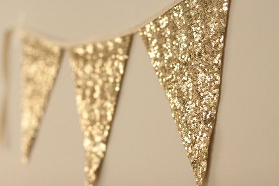 Gold Bunting by LePetitMariage on Etsy, $12.00. For the bacony?