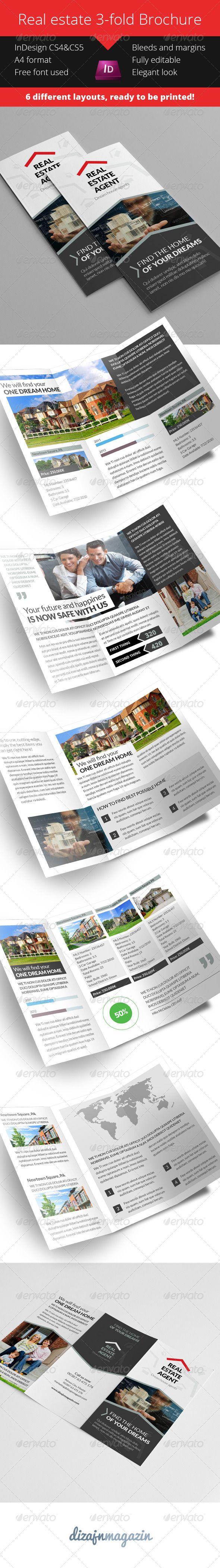 3 fold brochure template indesign - real estate 3 fold brochure product catalog fonts