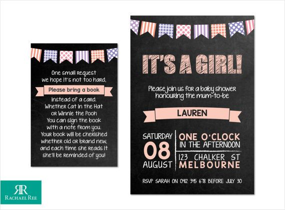 It's a Girl! Chalkboard and Bunting Baby Shower Invitations and Bring a Book Cards - Pink Purple Lilac Grey