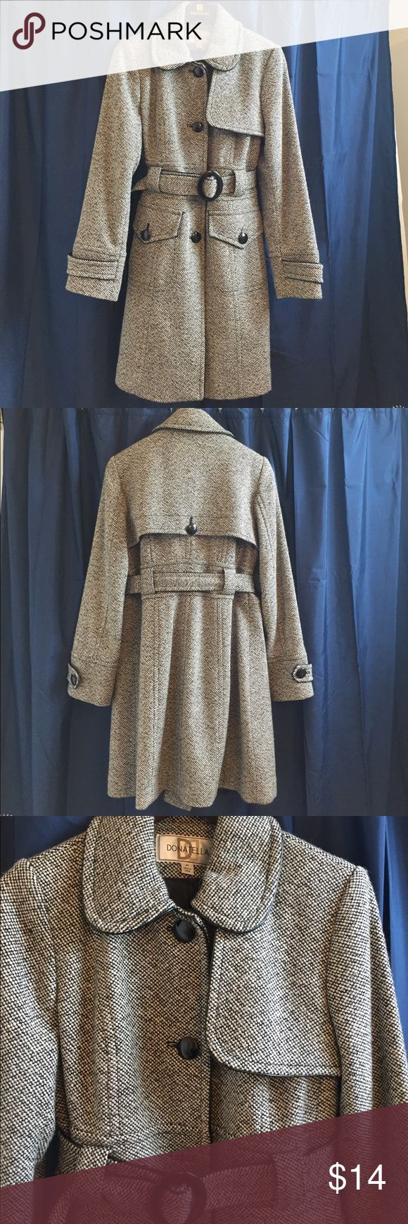 Women's medium weight knee length coat Good condition but has one button missing (as seen in picture). Belt covers where missing button would be. Comfortable and perfect length. Jackets & Coats Trench Coats