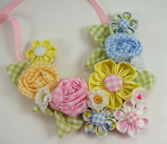 Fabric Flower Bib Necklace Tutorial PDF version no by aSundayGirl, $18.00