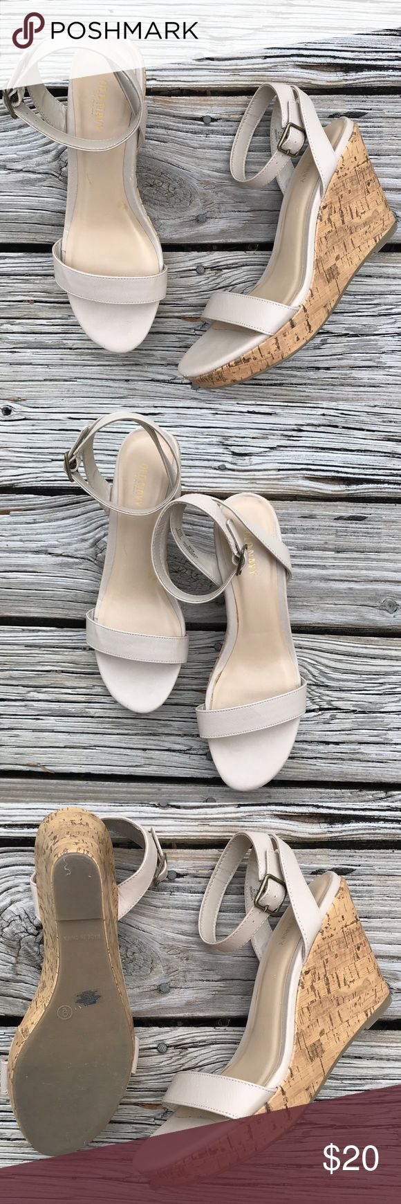 Cream Wedge with Ankle Strap! Worn literally once! Super comfy, just enough to give you some height but oh so easy to walk in! Half inch platform, with three inch heel ❤✨ Old Navy Shoes Wedges