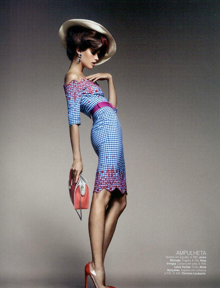 Sara Sampaio for Vogue Portugal February 2012.  Junko Shimada (dress), Hoss Intropia (Hat), Louis Vuitton (bag), Christian Louboutin (shoes).