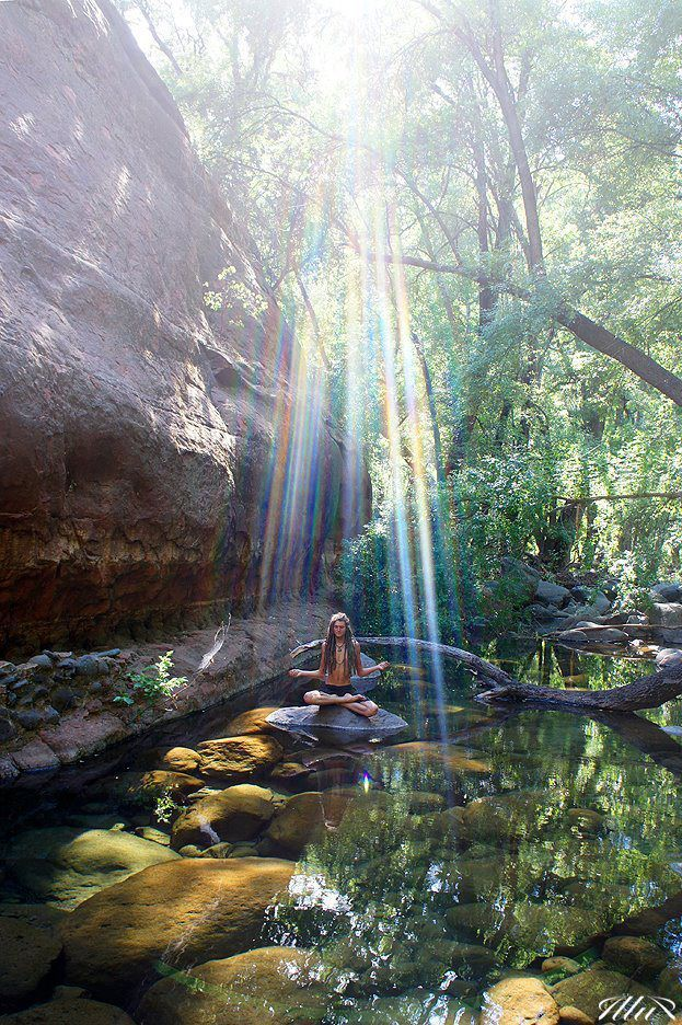Meditate, nature, rainbow, light, universe, wonder, connection, peace