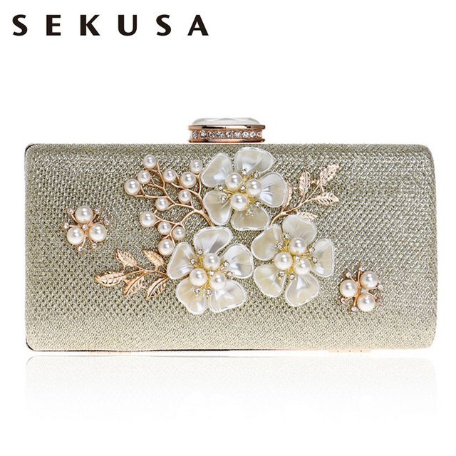 5ba09cc4b45 SEKUSA Shell Flower Women Evening Bag Sequined Diamonds Small Party Wedding  Handbags For 2017 Female Clutch Purse Bags Review