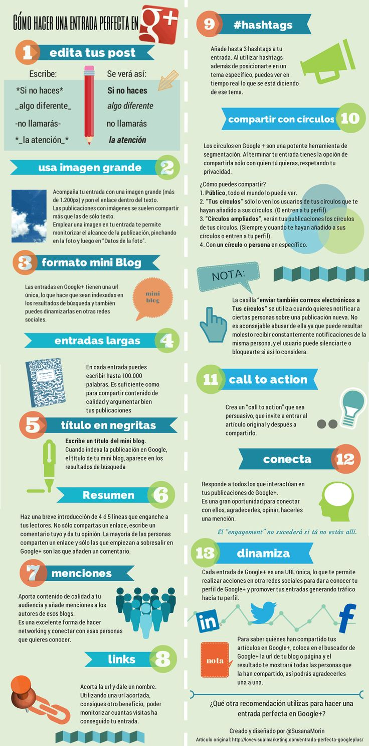 Cómo hacer una entrada perfecta en Google + #infografia