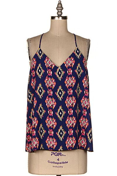 SHE'S A KEEPER Navy Pink Aztec Cami Top - Shop Simply Me –boutique – www.SHOPSIMPLYME.com - #ishopsimplyme – Naples, FL