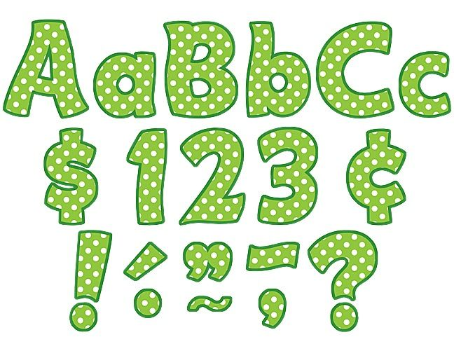 "Lime Polka Dots Funtastic 4"" Letters Combo Pack"