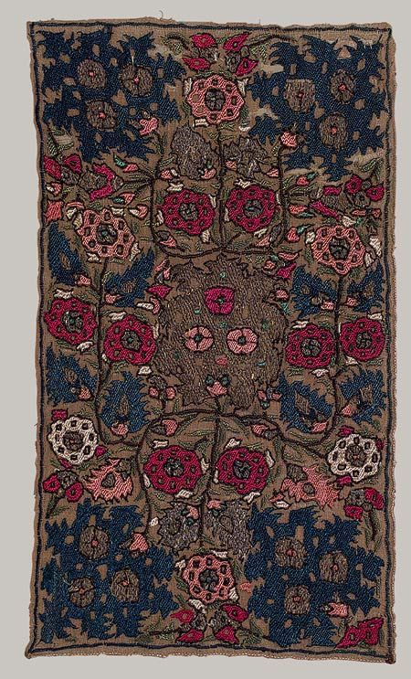 Embroidered panel from Algeria | 18th century | Linen, silk, silver, and gold