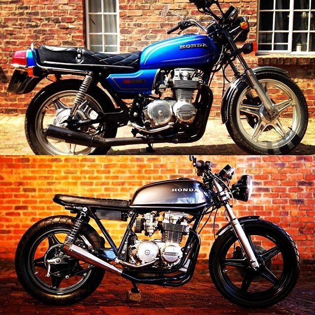 A before and after pic of my 1980 Honda CB650 #honda #cb650 #caferacer #bratstyle #custombike #custombikeculture