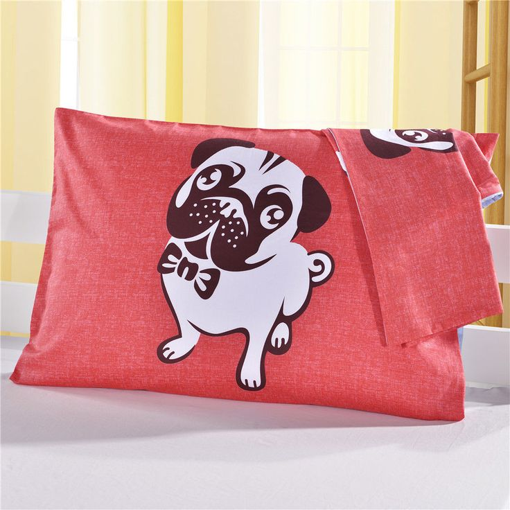 nioBomo Pillowcases Cotton Red Beige Standard 2-Pack Pillow Protectors Pug Style #nioBomo #Modern