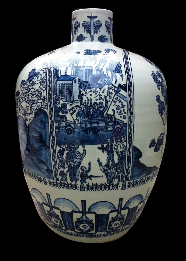 """… original designs for ""China"", a project by Raed Yassin about the Lebanese civil war . These designs were copied by traditional Chinese artisans onto a series of 7 vases that were exhibited in Art Dubai last week, in the Abraaj Capital Art Prize section."""