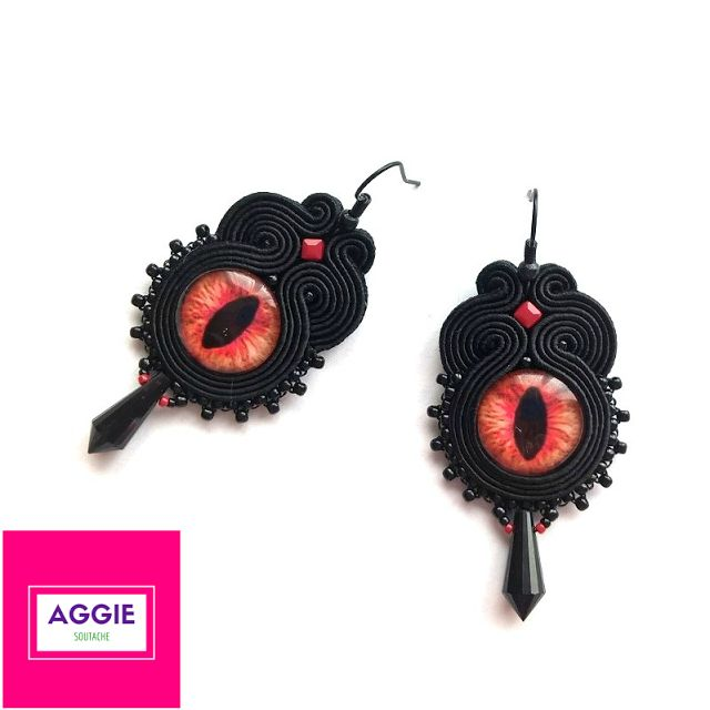 Czarne kolczyki sutasz Smocze Oko ;  Black soutache earrings Dragon Eye