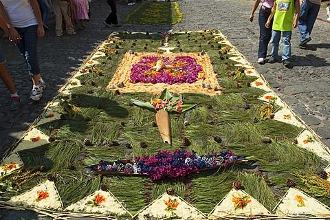 Alfombra hecha de agujas de pino y flores a lo largo del recorrido procesional el Viernes Santo.  Fabricación de alfombras es considerado como un acto de sacrificio, como el detalle elaborado y hora en que entra en la fabricación de alfombras es una manera para que la gente dé algo de sí mismos en la memoria