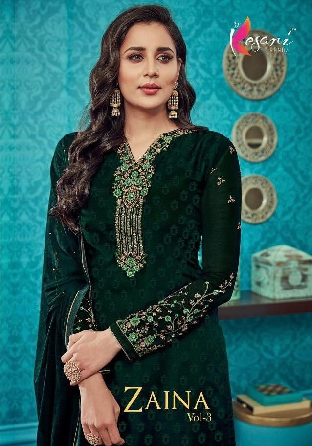 b6d510b6bf Kesari Trendz Zaina Vol 3 Brasso with Embroidery Work Dress Material  Collection at Wholesale Rate