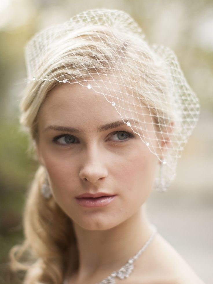 French Netting Bridal Birdcage Visor Veil With Crystals