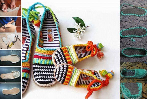 Sapatos de crochê - Trabalhos artesanais estão super em alta. A novidade agora são os sapatos ou sapatilhas de crochê. Tanto para ficar em casa, de pernocas para cima com muito conforto, como para passear, essa onda está apenas começando!