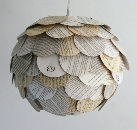 Artichoke Mixed Book Page Pendant Light — Grassrootsmodern.com