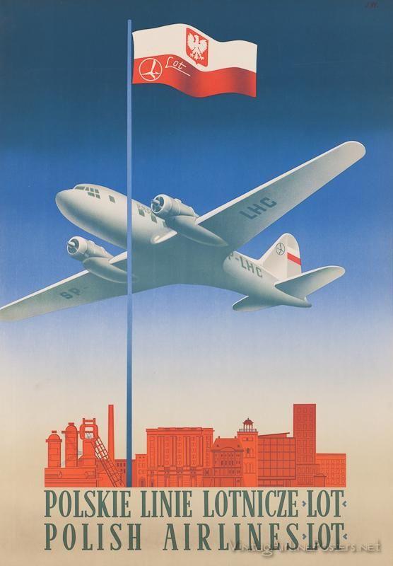 LOT Polish Airlines vintage poster