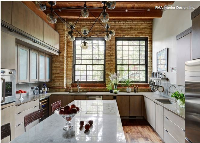 Marvin wood divided glass windows in a bronze finish look like iron windows normally found in old industrial building.  Storage includes separate pantries for cleaning supplies/tools, dry foods, & baking needs. 2 sinks.