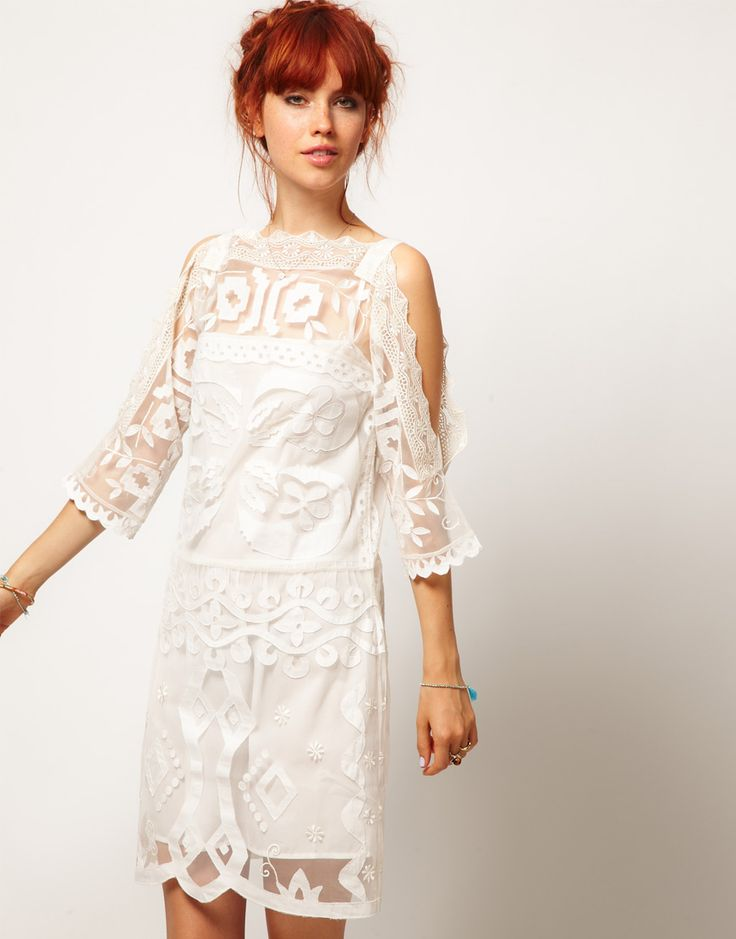 Asos Salon Cold Shoulder Lace Shift Dress Wedding
