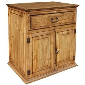 This stylish rustic sink cabinet features an open back for easy installation in your bathroom. The exterior of distressed solid pine creates a southwestern style that goes well in any bathroom. The top drawer is faux, but the cabinet doors are functional and great for holding your small bathroom items.