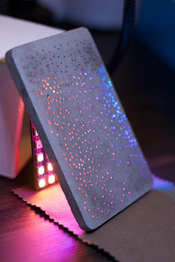 Béton lumières Association du béton et de la technologie NeoPixel https://www.instagram.com/croquebeton