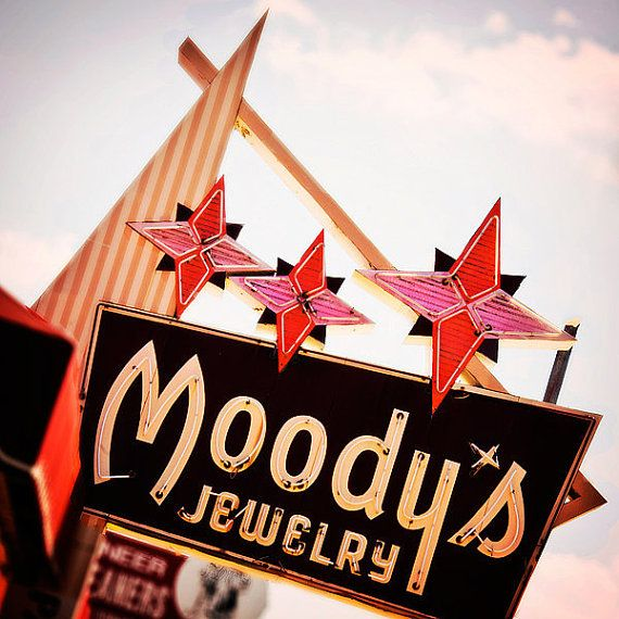 vintage jewelry store sign along Old Route 66 in Tulsa, Oklahoma. Moody's: one day you buy the damn ring, next you bring it back!