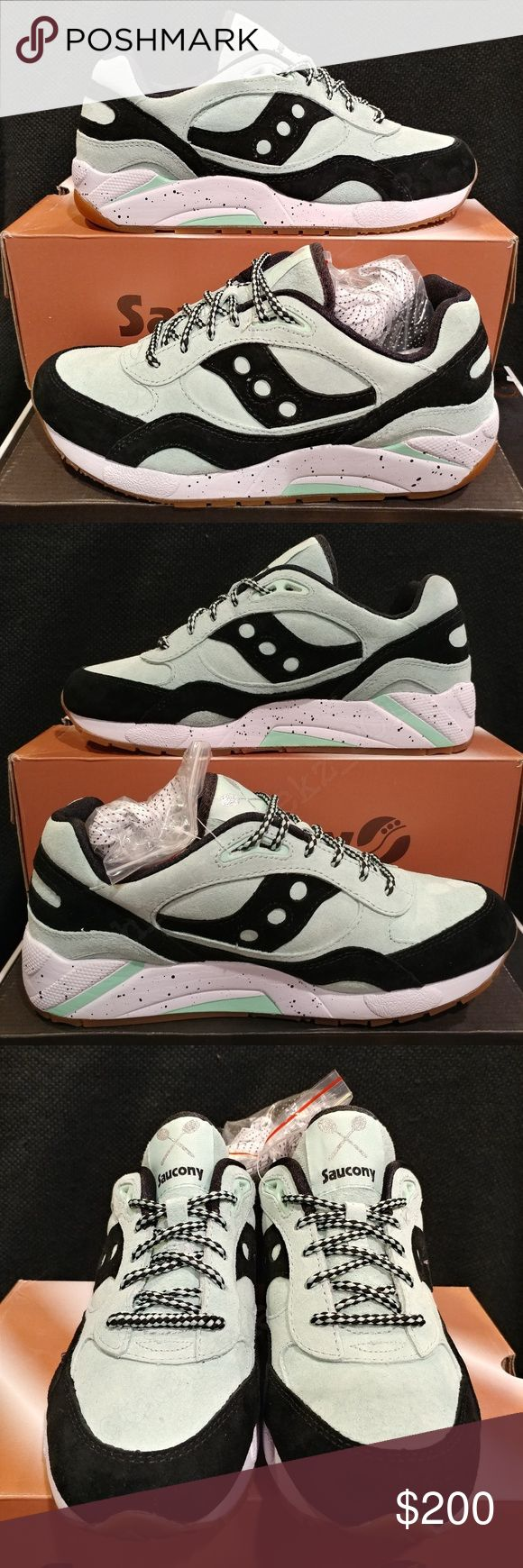 2015 Saucony G9 Shadow 6 'Mint Chocolate Chip' Saucony with an ice cream theme with the green/black representing the mint chocolate chip flavor. The midsole looks like cookies and ice cream while the gum bottoms represent the cone. The theme rolls over to the box, with the box looking like a container and the paper like  waffle cone.   These are brand new and we're only tried on. Comes with 3 extra laces which are still attached to the shoe. As well as the original box and tissue paper…