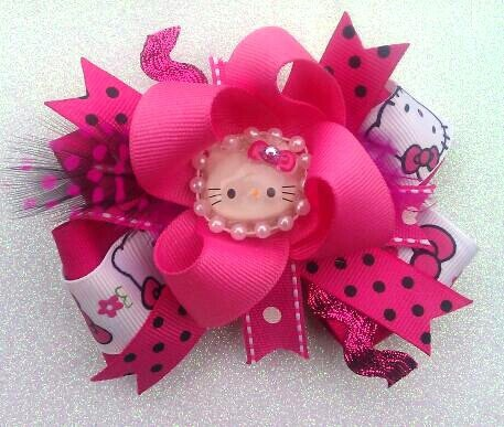 Hello Kitty Boutique Hair Bow with pearl by PinkToesAndHairBows, $6.50