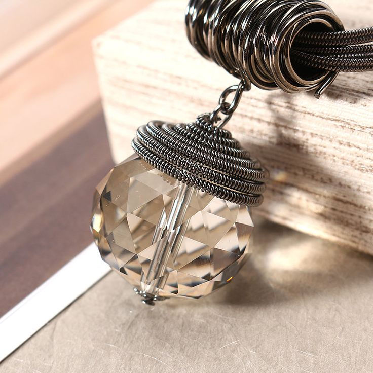 Round Water Drop Crystal  Sweater Necklace