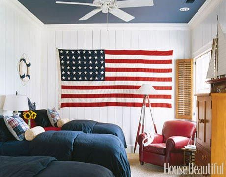 A Patriotic Room. Designer Suzanne Kasler used a vintage 48-star Old Glory as artwork in this children's room. Featured in the May 2006 issue.
