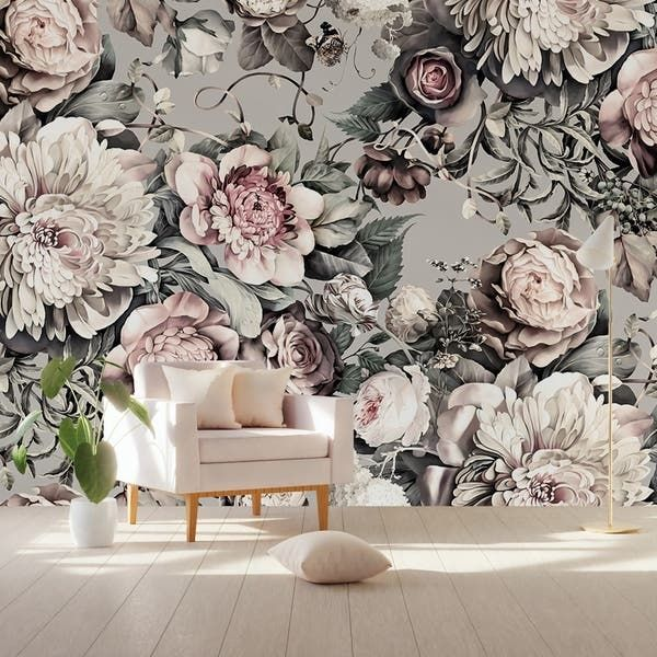 Shop Peony Blossom Dark Floral Pink Textile Wallpaper On Sale Overstock 30920328 H 106 X W 187 Peony Wallpaper Wallpaper Dark Floral