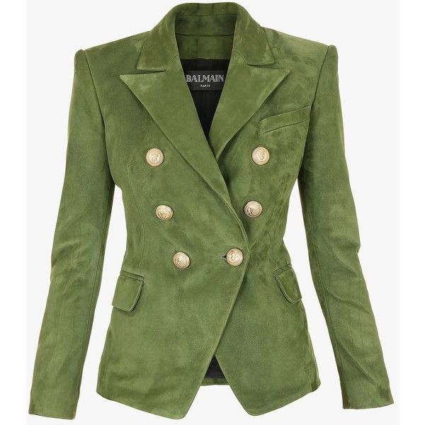 Double-breasted suede blazer | Women's leather blazers | Balmain ($3,905) ❤ liked on Polyvore featuring outerwear, jackets, blazers, green jacket, suede blazer, suede blazer jacket, balmain jacket and balmain blazer